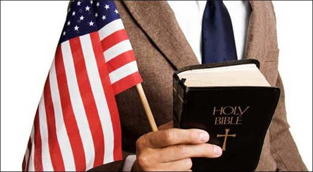 businessman with Bible and flag