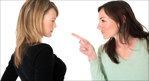 two women arguing or fighting