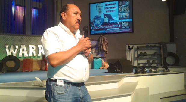 Bolivian ministry leader Fernando Villalobos shares during the recent Bold Venture men's retreat.