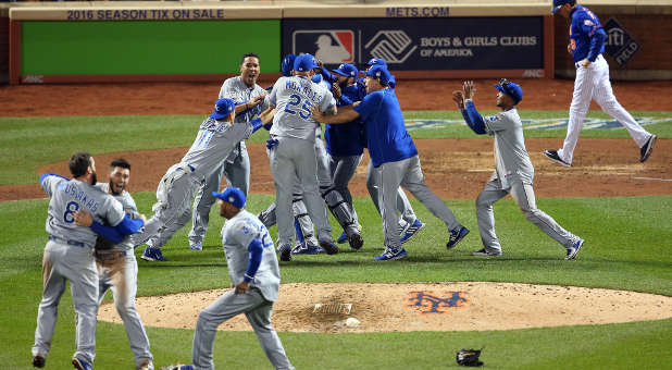 Members of the Kansas City Royals celebrate their first World Series championship in 30 years Sunday night.