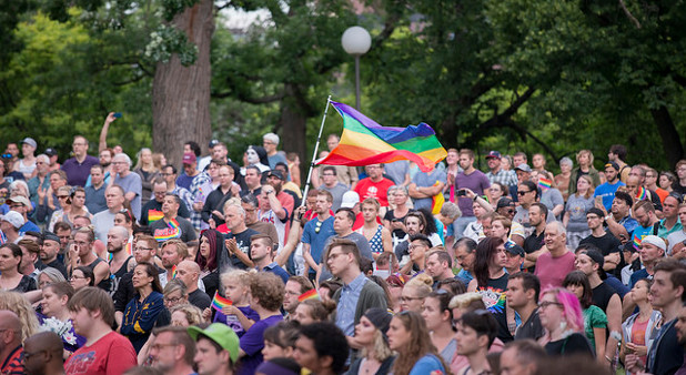 Around 3000 people gathered in Loring Park to unite in the wake of the Orlando, Florida shooting in a gay nightclub that killed at least 50 people. Speakers called for facing violence against the LGBTQA community with solidarity and love.