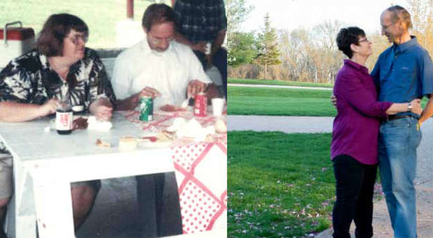 Teresa and Roy Parker, c. 1998 (L) and today (R).